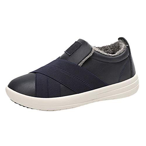 HDUFGJ Winterschuhe Herren Damen Schneestiefel Warme Baumwollschuhe Wasserdicht Stiefeletten Chelsea Boots Outdoor-Schuhe Profilsohle gefüttert Keilstiefel Stiefeletten 39.5 EU(Dunkel blau)