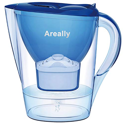Water Filter Pitcher, 2.8 Liters Large Capacity Multi-Stage Filteration Activated Filter Kettle with Countdown Timer, Household Kitchen Water Purifier (Blue)