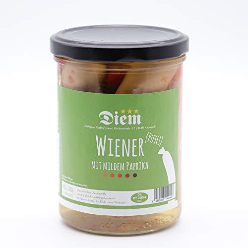 Wiener von der Pute mit mildem Paprika eingelegt - Füllmenge 400g - Abtropfgewicht 200g