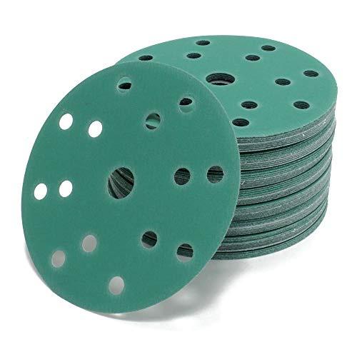 Woltersberger® 50 piezas Papel de lija de 150 mm | Papeles de Lija Abrasivos con 15 Agujeros para Lijadora Excéntrica | grano P240 verde | para un lijado óptimo, versátil