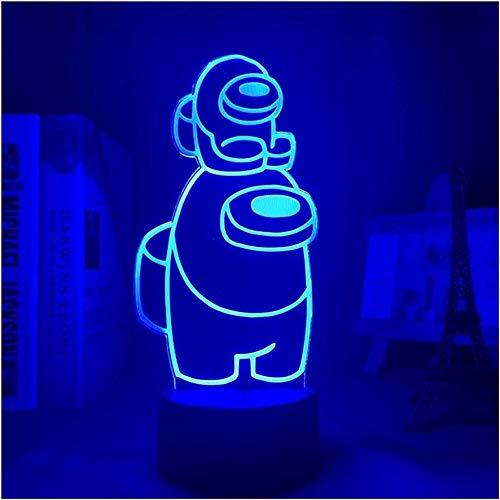 KANGNING Juego de lámpara de luz de Noche 3D LED Entre la luz de los EE. UTROS para la decoración del Dormitorio Entre los Elementos de la lámpara LED Mini Crewmate LED Well