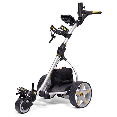 Bat-Caddy X3 Electric Push Cart w/ Free Accessory Kit, Silver, 35Ah SLA