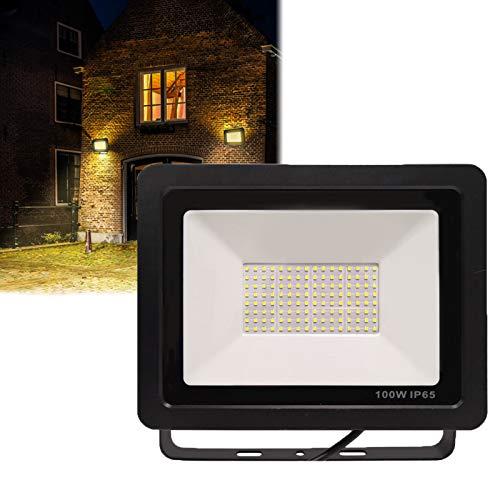 HENGMEI 100W LED Strahler Flutlicht Superhell LED Außenleuchter Wasserdicht IP65 Flutlichtstrahler Scheinwerfer Licht für Garten, Garage, Sportplatz, Werkstatt (100W, Warmeweiß)