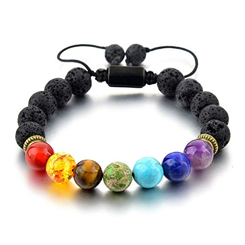 Mystiqs Lava Rock Chakra Beaded Bracelet Essential Oil Diffuser for Men,Women Aromatherapy Ideal for Anti-Stress or Anti-Anxiety (New Upgraded Anti-loose System)