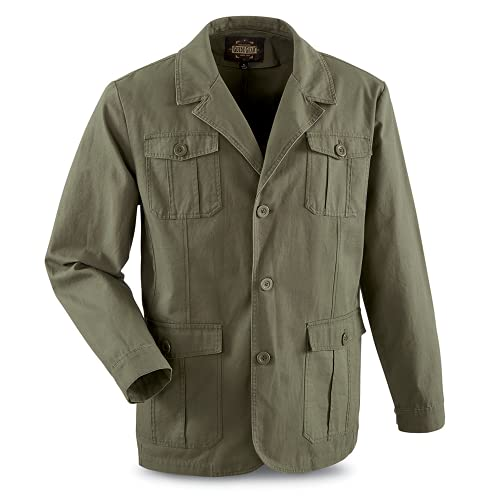 Guide Gear Sportsman's Field Jacket, Military Jackets for Men In Canvas Cotton, Olive, MEDIUM