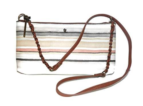 ELLIOTT LUCCA Gray Tan Pin Stripe Artisan Handbag 106675