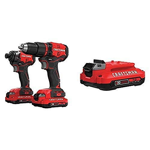 CRAFTSMAN V20 Cordless Drill Combo Kit, 2 Tool with EXTRA Lithium Ion Battery, 2.0-Amp Hour (CMCK210C2 & CMCB202)