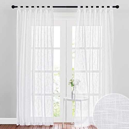 RYB HOME White Sheer Curtains for Living Room Privacy Semi Sheer Linen Curtains Light Glare Filtering for Bedroom Dining Office Window, 52 inches Wide x 84 inches Long, 2 Panels, White
