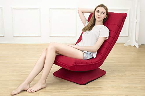 360 °Rotieren ergonomischer Stuhl klappbar drehbar,3Positionen Verstellbarer Relax Lounge Sessel Bequeme Unterstützung Liege Wohnzimmer Balkon Garten klappstuhl fauler sofastuhl Waschbar(rot)