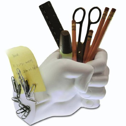 LilGift Novelty Fist Hand Shaped Pen and Office Supply Holder with Paper Clip Magnet, White