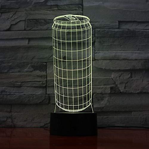 Lámpara de mesa 3D creativa, latas de línea, acrílico multicolor, luz de noche LED, decoración, habitación, regalo