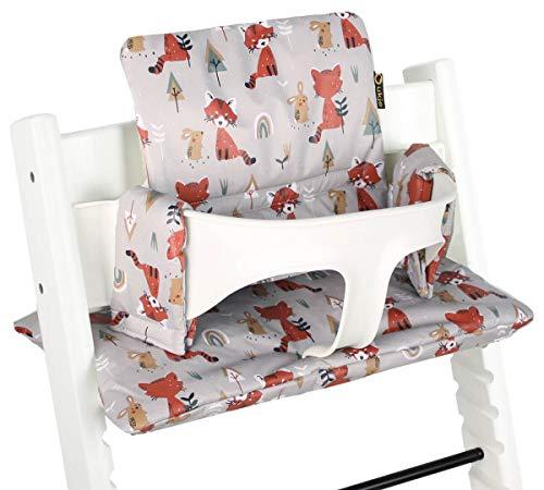 Ukje - Coussin pour chaise haute Stokke Tripp Trapp - Ajustement Parfait - Revêtement Plastifié- Nettoyage Facile - 2 Coussins tripp trapp (vieux et nouveau modèle) - Renards Gris