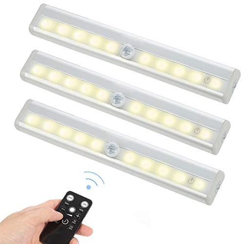 3 Pack Fernbedienung unter Cabinet Lighting Wireless Led Strip Lights Küche-Lichter, dimmbare Treppen-Nachtlichter Batterie betrieben für Schrank/Garderobe/Fach/Schrank, 10 LED Nachtlichter Stab
