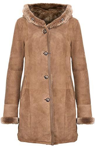 Infinity Leather Elegante Braune Wildlederjacke mit Kapuze aus Lammfell und Merinowolle Für Damen S