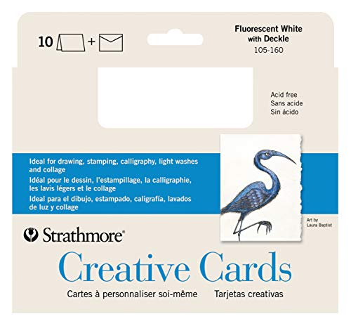 Strathmore Full Size Creative Cards, Fluorescent White/Deckle, 10 Cards & Envelopes, 10 Cards & Envelopes