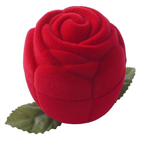 EYS JEWELRY® étui à bijoux pour bague 43 x 43 x 47 mm velours rouge boîte à bague écrin emballage cadeau floraison des roses