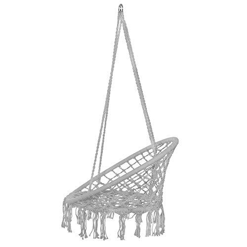 SPRINGOS Hängeschaukel mit Fransen, Hängesessel, geflochten, Baumwolle, Gartenschaukel, Schaukelstuhl zum Aufhängen, mit Seilen und Ringen, für Außen und Innen, Hängekorb (Grau) - 2