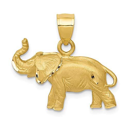 Black Bow Jewellery Company: Diamantschliff Trompetender Elefant Anhänger in 14karat gelb Gold