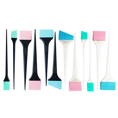 Minkissy - 12 pinceles de silicona para colorear el cabello, aplicador, colorante, cepillo para teñir el cabello, coloración para el hogar, peluquería (color aleatorio)