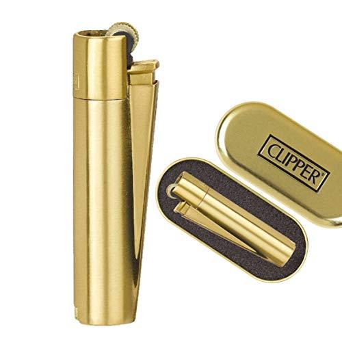 Clipper 1 Encendedor Mechero Clásico Largo Metal Gold Oro Dorado Mate Cepillado + 1 Llavero