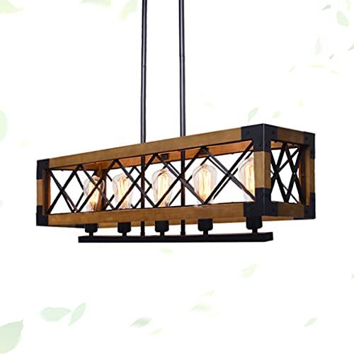 Vintage Retro Araña Diseño hueco Lámpara colgante de madera Lámpara colgante de madera Pantalla Lámpara colgante de madera maciza Restaurante Luz colgante Luz colgante de madera