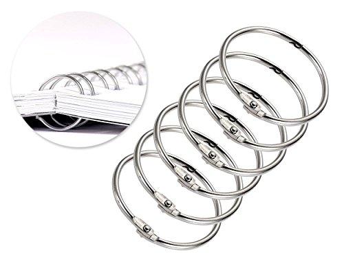 FGF, 20 Stück, 5,1 cm, runde Form Metall Binding Ringe Papier Album Fotobuch, Lose Blatt Binder Ring Schlüsselring – Silber