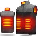 LECDDL 加熱ベスト ヒートジャケット 加熱服 USB充電式電熱ベスト ダブルスイッチ 前後独立温度設定可能 3段階温度調整 保温 防寒 超軽量 臭くない 水洗い可能 4つのサイズから選べます(M、L、XL、XXL) アウトドア防寒対策 (XXL)