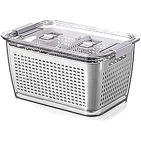 Queta Boîte de Conservation des fruits et légumes pour réfrigérateur, Bac Alimentaire Fraicheur, Box de Rangement Empilable Frigo avec Égouttoir Blanc L