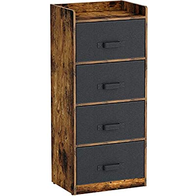 Rolanstar Dresser with 4 Drawers, Drawer Dresser with Fabric Drawers, Chest Wood Storage Organizer Clothes Cabinet Unit for Bedroom, Closet, Entryway, Hallway, Nursery Room,Rustic Brown