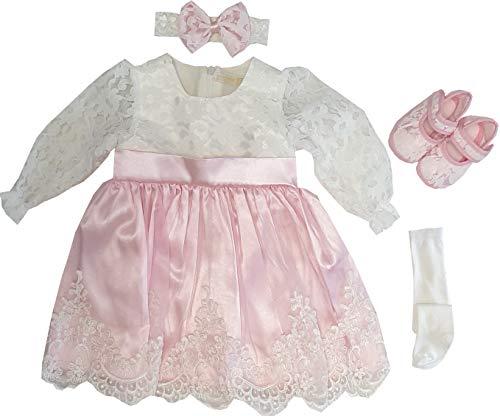 Dilaras Babybekleidung Taufkleid Baby Mädchen 4 Teiliges Set (56-62, Weiß Rosa Langarm)