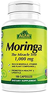 Moringa Oleifera Leaf Extract Supplement by ALFA Vitamins - 100% NATURAL Superfood - Natural Weight Loss Supplement - Energy and Metabolism Booster-Mood Enhancer-Memory and Focus Enhancer-100 Capsules