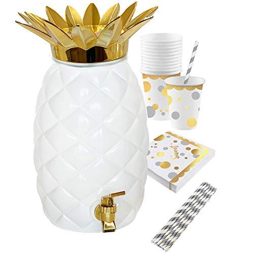 Island Genius Plastic Glam Pineapple Drink Dispenser Party Pack, Hawaiian Luau Party Decoration Supplies