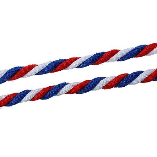 SiAura Material ® - 10m Schnur aus Baumwolle, 5mm dick, rot-blau-weiß gestreift