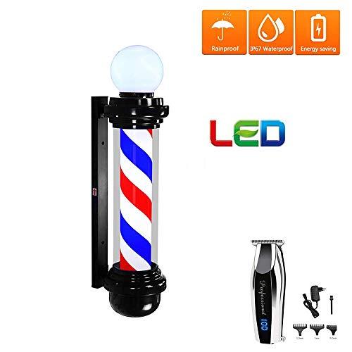 XCJJ Poteau de barbier étanche extérieur, salon de coiffure rotatif à économie d'énergie, signe de beauté de cheveux légers éclairant des rayures rouges et blanches avec une tondeuse à cheveux, noir,