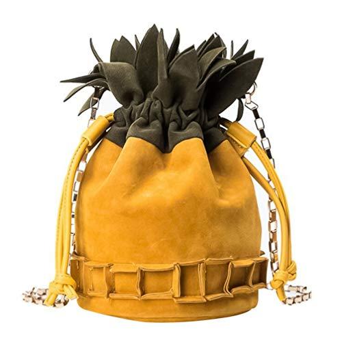 TENDYCOCO Borsa con Coulisse All'ananas Borsa a Secchiello con Catena a Forma di Ananas Borsa a Secchiello per Frutta Borsa Alla Moda per Donna