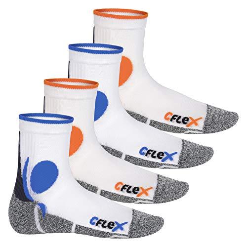 CFLEX Damen und Herren Running Funktions-Socken (4 Paar) Laufsocken - Weiss-Mix 43-46