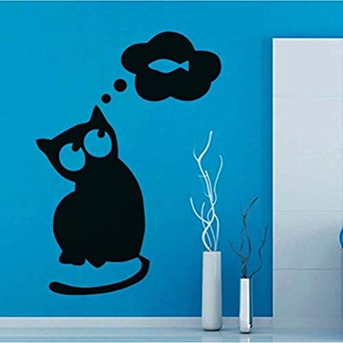 Pegatinas de pared 42X60 cm Gato Pensando en Peces Etiqueta de la pared Extraíble DIY Calcomanías de vinilo Puerta del refrigerador Papel tapiz hueco decorativo Decoración para el hogar