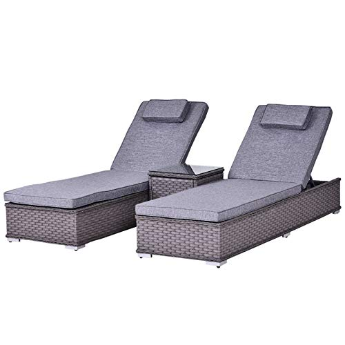 Outsunny 3PC Rattan Sun Lounger Garden Outdoor Wicker Recliner Bed Side Table 2 Seater Set Patio Furniture - Grey