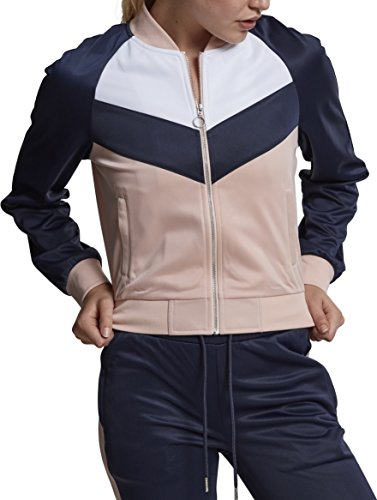 Urban Classics Damen Ladies Short Raglan Track Jacket Sweatjacke, Mehrfarbig (Light Rose/Navy/White 01223), Medium