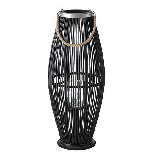Boltze Lanterna antivento in bambù, con manico in iuta e cilindro in vetro, 72 cm, colore: nero
