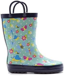Mucky Wear Children's Rubber Rain Boots Loop Boots Camo, Mermaids, Sharks, Dino, Construction, Critters, Owls, Garden of Wings