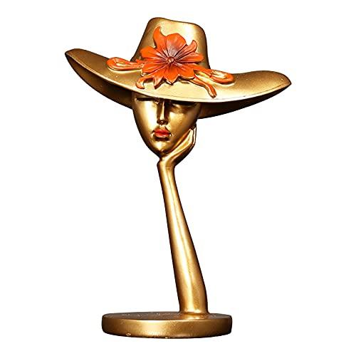 Objeto De Decoración Moderna Florero Forma Femenina Sombrero Creativo Minimalista Escultura Abstracta Arte Dama para Navidad Regalo Cumpleaños Resina Hogar,Oro,19×25×9.5cm