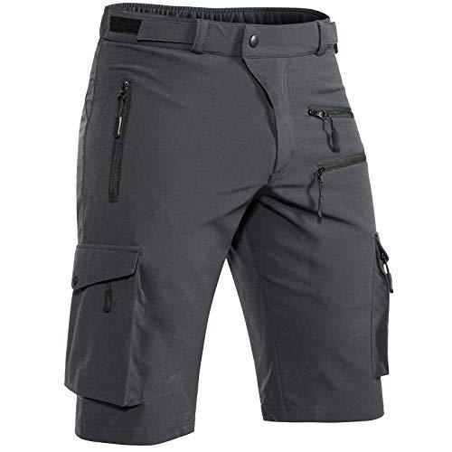 Hiauspor Mens Hiking Shorts Casual Cargo Shorts Quick Dry Tactical Shorts with Zipper Pockets