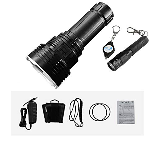 IMALENT DX80 32000 Lumens 8pcs CREE XHP70 2nd Generation LED Flashlight With Lumintrail LTK-10 Keychain Light (Black)
