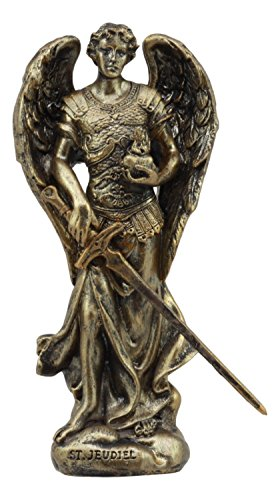 "Ebros Holy Saint Jegudiel Archangel Jehudiel Statue 5"" Tall Collectible Figurine Angelic Patron of All Who Work and Spiritual Endeavors The Reward of God"