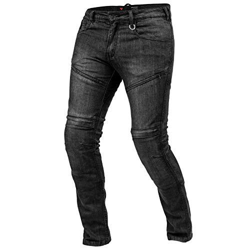 SHIMA Gravel Jeans Moto Uomo - Pantaloni Biker Ventilato vestibilità Slim con Rinforzi in Kevlar, Protezioni CE per Ginocchia e Fianchi (Nero, 36)