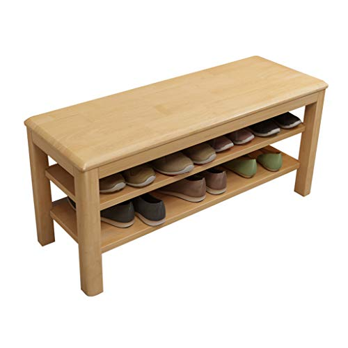 Simple and Modern Shoe Changing Stool Household Solid Wood Shoe Cabinet Bench With Cotton Cushion Corridor Living Room Bathroom Bedroom Training Institu(Color:Solid wood cushion,Size:Log color 60cm)