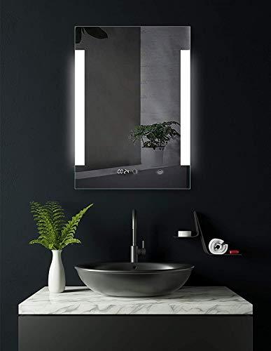SOGOO® Miroir Salle de Bains LED, Miroir Salle de Bain Avec Horloge, Lumière Blanc Naturelle 6500K (D-60x80 avec Horloge)