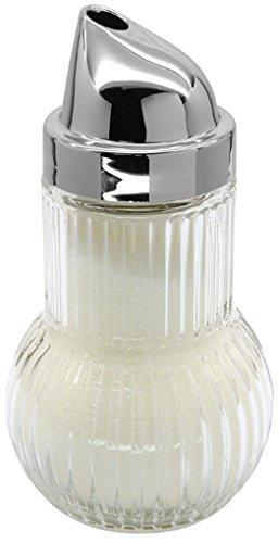 FACKELMANN 46907 Zuckerdosierer Rubin, Zuckerstreuer, Glas mit Chromkapsel