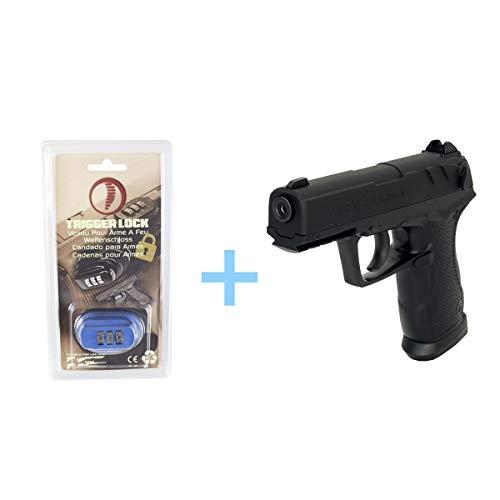 Gamo Pack Pistola Aire Comprimido (CO2) C-15 Blowback/Full Metal, Pistola Gas, Potencia 3 Julios, Calibre de 4,5 mm, Cargador de 15 balines, Pistola Bolas ambidiestra + Candado de Seguridad Yatek.